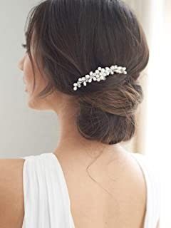 Brishow Wedding Hair Comb Crystal Bridal Hair Pieces Pearl Hair Accessories for Women and Girls