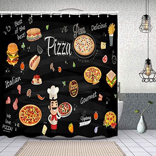 Cortina de Baño con 12 Ganchos,Pizza Burger Hot Dog Pasta Sandwich Flyer Ilustración,Cortina Ducha Tela Resistente al Agua para baño,bañera 180X180cm