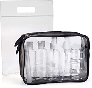 MOCOCITO Clear Toiletry Bag with 8 Bottles(max.3.04oz/100ml
