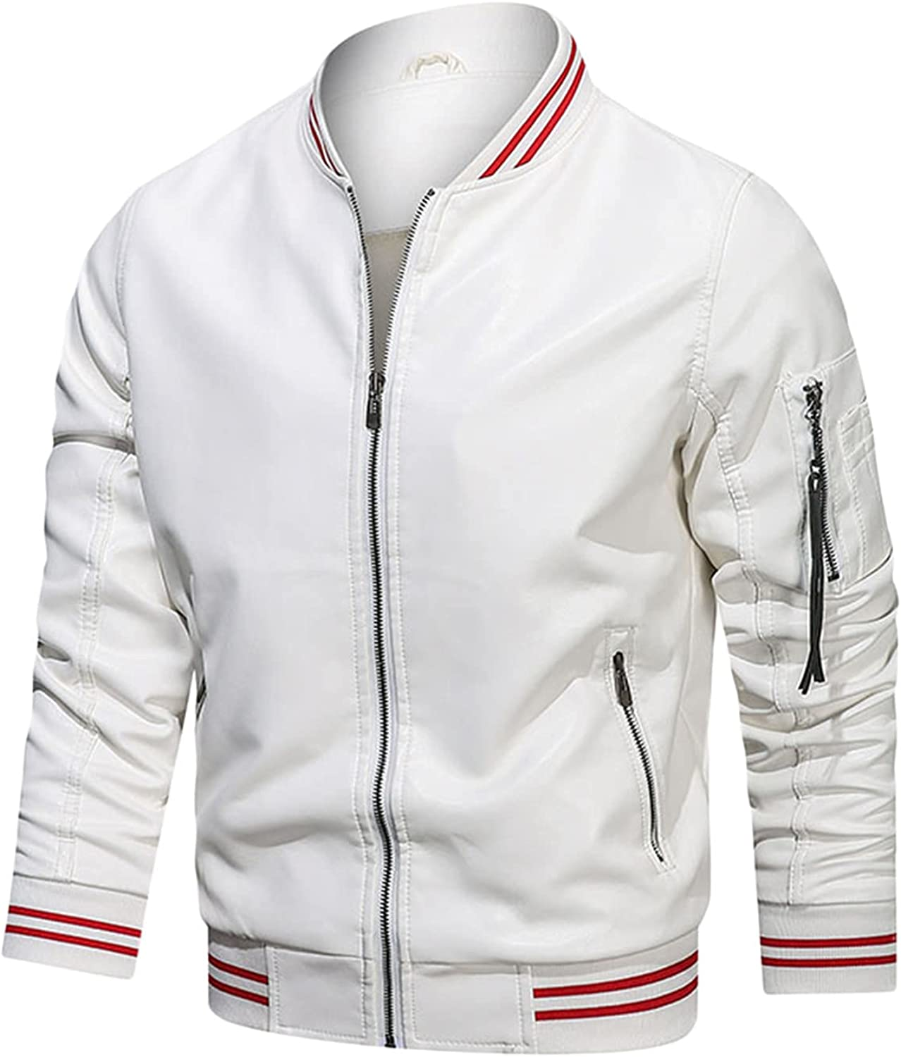 CHENGSE Men's Warm PU Faux Bomber Jack Leather High quality new Zip-Up SEAL limited product Motorcycle
