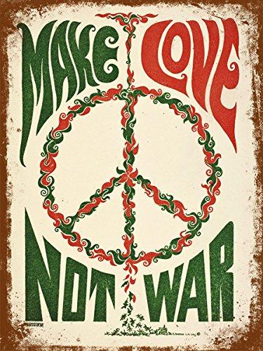 Vintage Retro Stil Make Love Not War Poster Bild Metall Schild Wand Tür Plakette 20,3x 30,5cm...