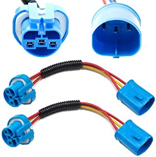 iJDMTOY (2) 9007 9004 Extension Wire Harness Sockets Compatible With Headlights, Fog Lights Retrofit Work Use