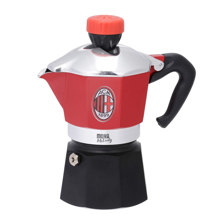 Bialetti Industrie 4352 Melody Moka - Cafetera Italiana (3 Tazas), diseño del AC Milan: Amazon.es: Hogar