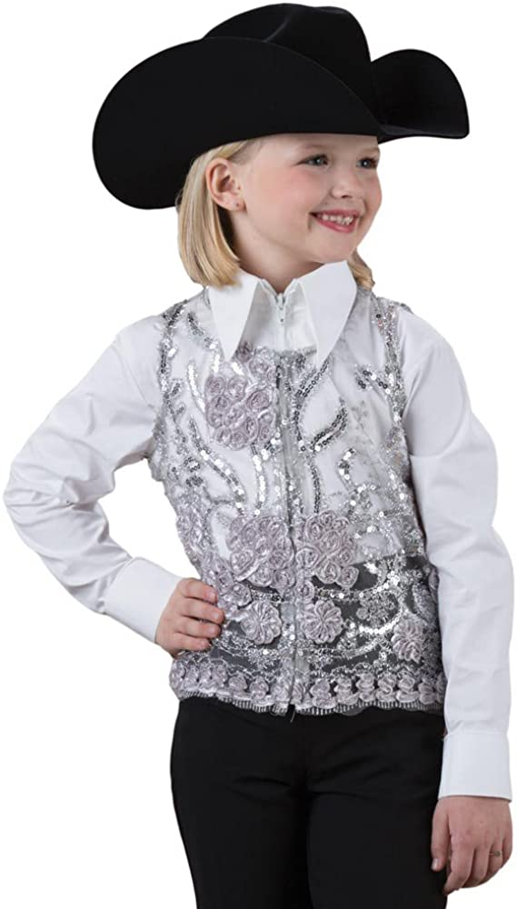 Rods Girls' Silver Lace Sequin Vest Show Detroit Over item handling ☆ Mall