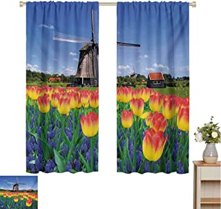 Mozenou Landscape, Customized Curtains, Tulip Blooms with Classic Dutch Windmill Netherlands Countryside Spring Picture, Blackout Window Curtain Yellow Blue