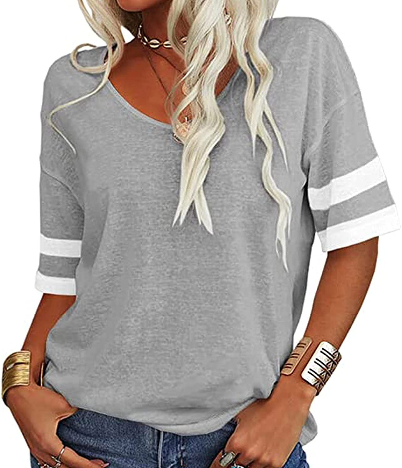 Fashion Woman V-Neck Short Sleeve T-Shirt Summer Patchwork Loose Blouse Tops Summer Tops Tee Shirts Blouse