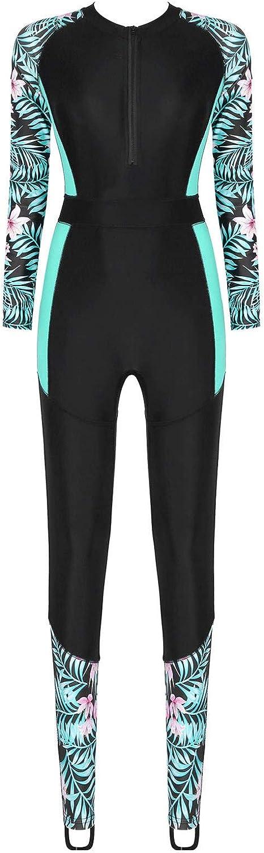 winying Women's One Piece Long-Sleeve Swimsuit Surfing Suit Sun Protection Rash Guard Beachwear