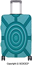 SCOCICI Anti-scratch Baggage Luggage Cover Protector Abstract Aboriginal Dot Painting Ancient Native Ethnic Cultural Art in Australia Multi-function Travel Suitcase Cover (Cover ONLY, Suitcase NOT In