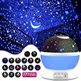 MOKOQI Star Projector Night Lights for Kids, Gifts for 1-4-6-14 Year Old Girl and Boy, Room Lights for Kids, Glow in The Dark Stars and Moon can Make Child Sleep Peacefully and Best Gift - Blue