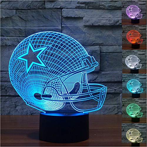 Noa Store 3D Illusion LED Night Light,7 Colors Gradual Changing Touch Switch USB Table Lamp or Home Decorations (Football Helmet)
