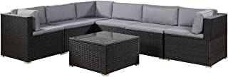 romatlink 7 Pieces Outdoor Rattan Patio Furniture Set, Modern Wicker Conversation Sectional Sofa Chairs with Cushioned Couch & Glass Top Coffee Table, Perfect for Garden Lawn Poolside Backyard