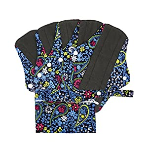 Reusable Cloth Menstrual Pads (5 Packs + Bag) with Carbon Absorbent Layer, Washable Sanitary Napkin, Overnight Panties (Flower Print)