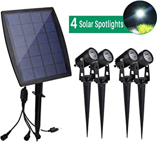 DINGLILIGHTING Solar Powered Outdoor Spot Lights Outdoor, 4-Lights Led Landscape Spotlight,Wall Security Lighting for Garden, Yard, Porch, Pathways, Entryways, Garages, Daylight