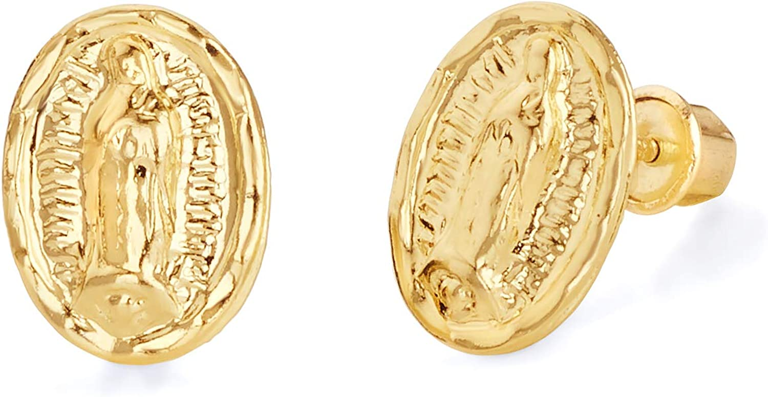 14k REAL Yellow Gold Our Lady of Guadalupe Stud Earrings with Screw Back