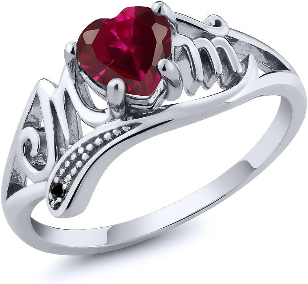 Gem Stone King Heart Shape Red Created Bargain sale C Ruby Black 0.97 Diamond New Shipping Free