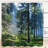 Alishomtll Wald Duschvorhang, Grün Antischimmel Duschvorhänge Textil Wasserdicht Shower Curtains Badewanne Waschbar mit 12 Haken, 120x180 cm