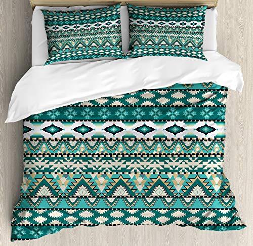4 PCS Duvet Cover Set with Zipper Closure, Silky Soft Quality Premium Bedding Collection Perfect for Kids/Adults - Tribal Aztec Design Geometrical Elements Triages Squares Primitive Pixel Art Queen