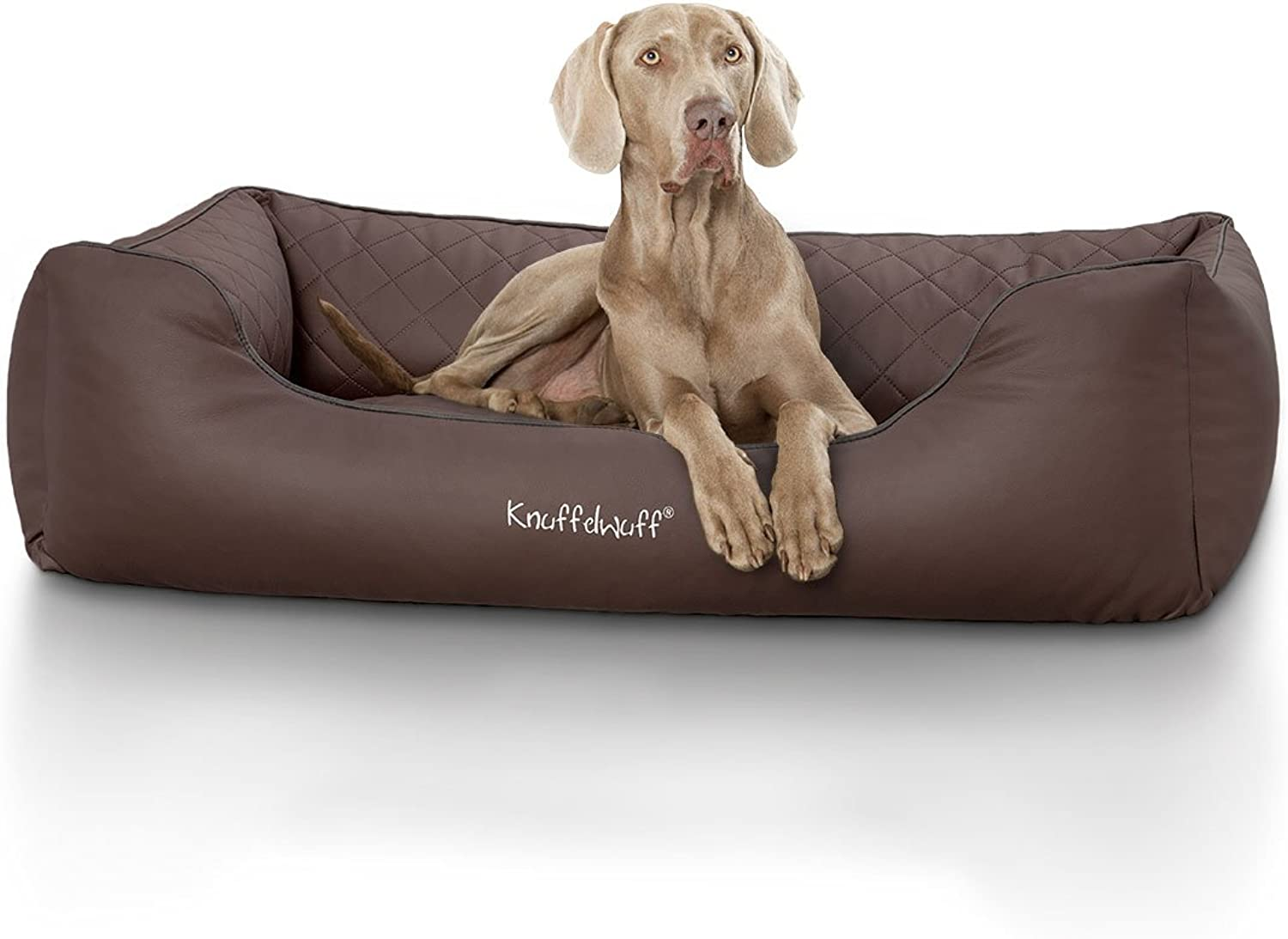 Knuffelwuff Quilted Dog Bed Made of Synthetic Milan Leather, XLarge, 105 x 75 cm, Brown Beige