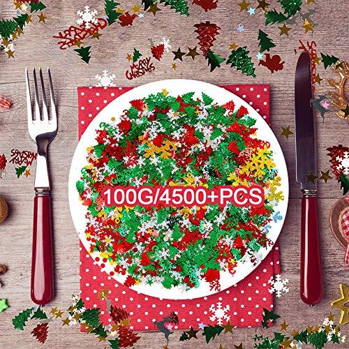 100g / 4500 + Stücke Weihnachtskonfetti - Pentagram, Schneeflocke, Weihnachtsmann, Kiefer, Alphabet der frohen Weihnachten, Elch, Engel Gemischte Tabelle Konfetti Helles Weihnachtsfest-Deko-Set