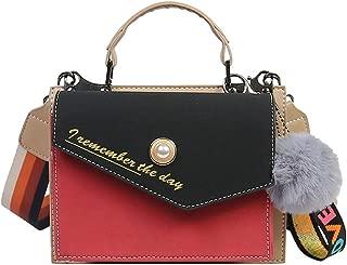 Fashion New Exquisite Trend Casual Fashion Durable Portable Slung Collision Color Shoulder Small PU Handbag (Color : Red)