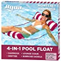 AQUA 4-in-1 Monterey Hammock Inflatable Pool Float, Multi-Purpose Pool Hammock (Saddle, Lounge Chair, Hammock, Drifter) Pool Chair, Portable Water Hammock, Burgundy/White Stripe