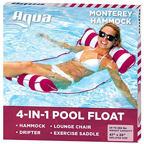 AQUA 4in1 Monterey Hammock Inflatable Pool Float MultiPurpose Pool Hammock Saddle Lounge Chair Hammock Drifter Pool Chair Portable Water Hammock Burgundy/White Stripe