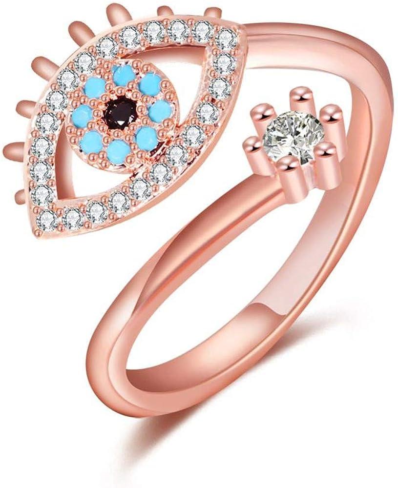 Limited price sale Deelan Evil Eye Rose Gold Platinum Large discharge sale Rings Plated Open Finger for