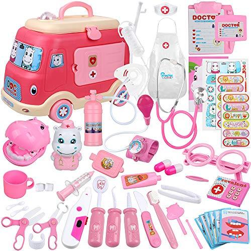 Anpro 50Stk Arztkoffer Medizinisches Spielzeug Spielzeugautomodelle Rollenspiel Spielzeug Set, Arztkoffer Doktor Spielset Rollenspiel Kit Geschenke für Kinder (Rosa)