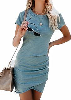 EGELEXY Summer Women Irregular Dresses Round Neck Bodycon Short Sleeve Wrap Dress Midi Club