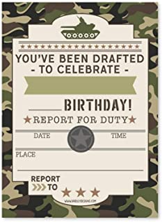 25 Camo Army Kids Birthday Party Invitations, Boy Sleepover Camouflage Military Themed, Tank Soldier Children or Toddlers Bday Scout Camp Theme Printable Supplies, Printed or Fill in The Blank Cards