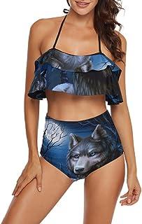 CaTaKu Ensemble bikini motif animaux de la forêt, loup, maillot de bain pour adolescentes, filles et femmes