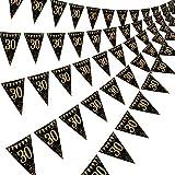 Happy Birthday Banner Bunting Flaggen 5 Stück Gold & Schwarz Funkeln Geburtstag Jahrestag Party Dekoration Zubehör, 7,4 x 10,8 Zoll (30. Geburtstag)