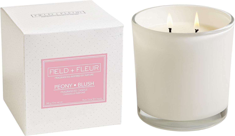 Field + Fleur PBGL 2-Wick White Peony Jar National uniform free shipping Glass Free shipping Candle Blush
