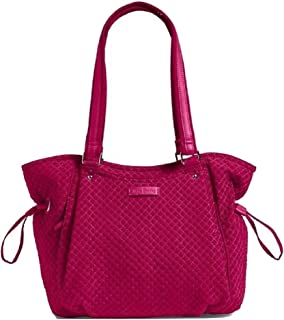 Vera Bradley Iconic Glenna Satchel in Passion Pink Microfiber with Faux Leather Trim