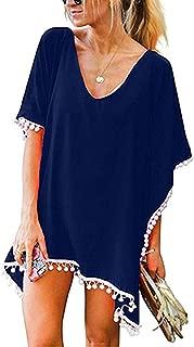 Women's Crochet Chiffon Tassel Swimsuit Beach Bikini Cover Ups for Swimwear