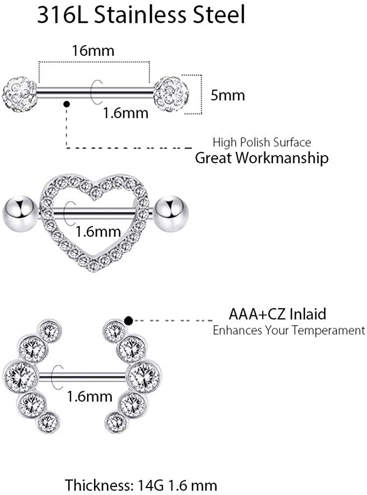 Arardo 14G 316L Stainless Steel CZ Nipple Rings Nipple Barbell for Women Body Piercing Jewelry