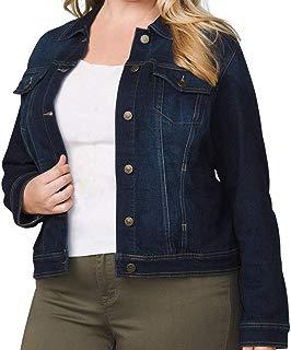 Symbidium Women's Plus Size Classic Button Down Stretch Denim Jacket Coats