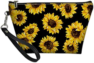 Sponsored Ad - GIFTPUZZ Sunflower Cosmetic Makeup Tools Toiletry Jewelry Organizer Train Case Washroom Protable Floral Han...