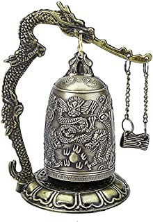 DMtse Vintage Style Bronze Lock Carved Dragon Tibet Buddhist Bell Bronze Good Luck Bell Geomantic for Meditation Altar Dec...