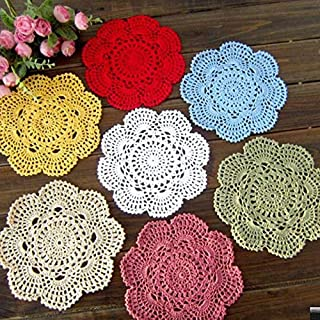 Linker Wish Paper Doilies 6 pcs/set Handmade Crochet Colorful flower Placemat Shabby Chic Vintage Look Crocheted Doilies 20cm/7.9 inches Color Pink