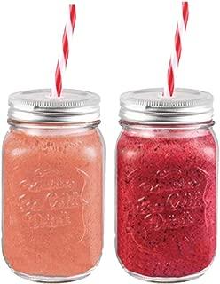 Set of Two Mason Glass Jar with Straw