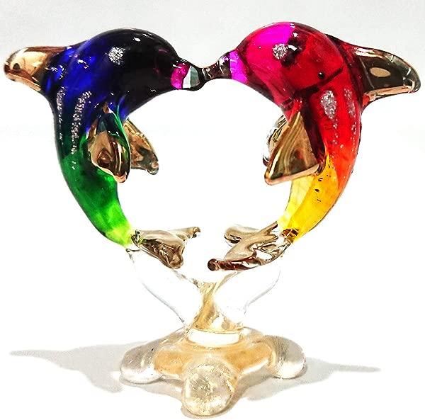 Sansukjai Heart Dolphins Miniature Figurines Hand Painted Blown Glass Art W 22k Gold Trim Animals Collectible Gift Home Decor Rainbow