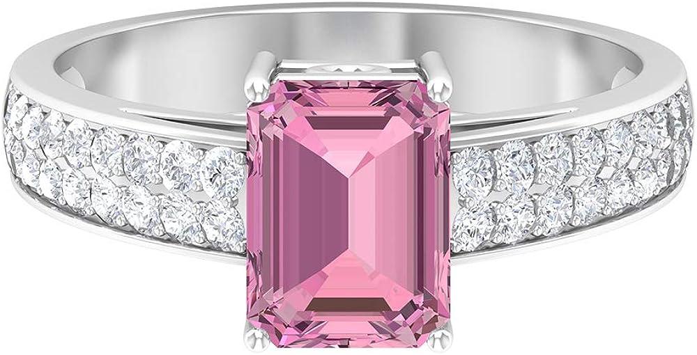 6X8 MM Octagon Cut Pink Moissanite Tourmaline Discount mail order Ring trust D-VSSI