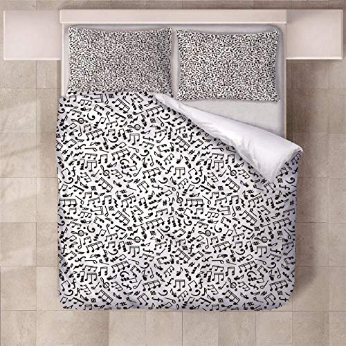 NHBTGH Duvet Cover Sets 70.87x78.74 inch Musical Note Easy care Anti Allergy Soft & Cosy 3 Piece Polyester Bedding Set with Zipper Closure and 2 Pillow Cases (2x19.69x29.53 inch) - White