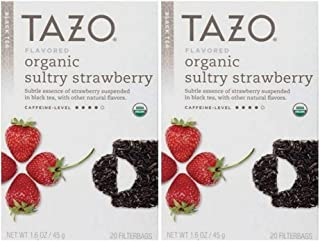 Tazo Flavored Organic Sultry Strawberry Black Tea Blend - Pack of 2, 20 Filter Bags, 1.6 Oz. Ea.