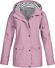 iHHAPY Women's Raincoat Hooded Jacket Raincoat Sailing Jacket Outdoors Weather Jacket Striped Lining Waterproof Oversize