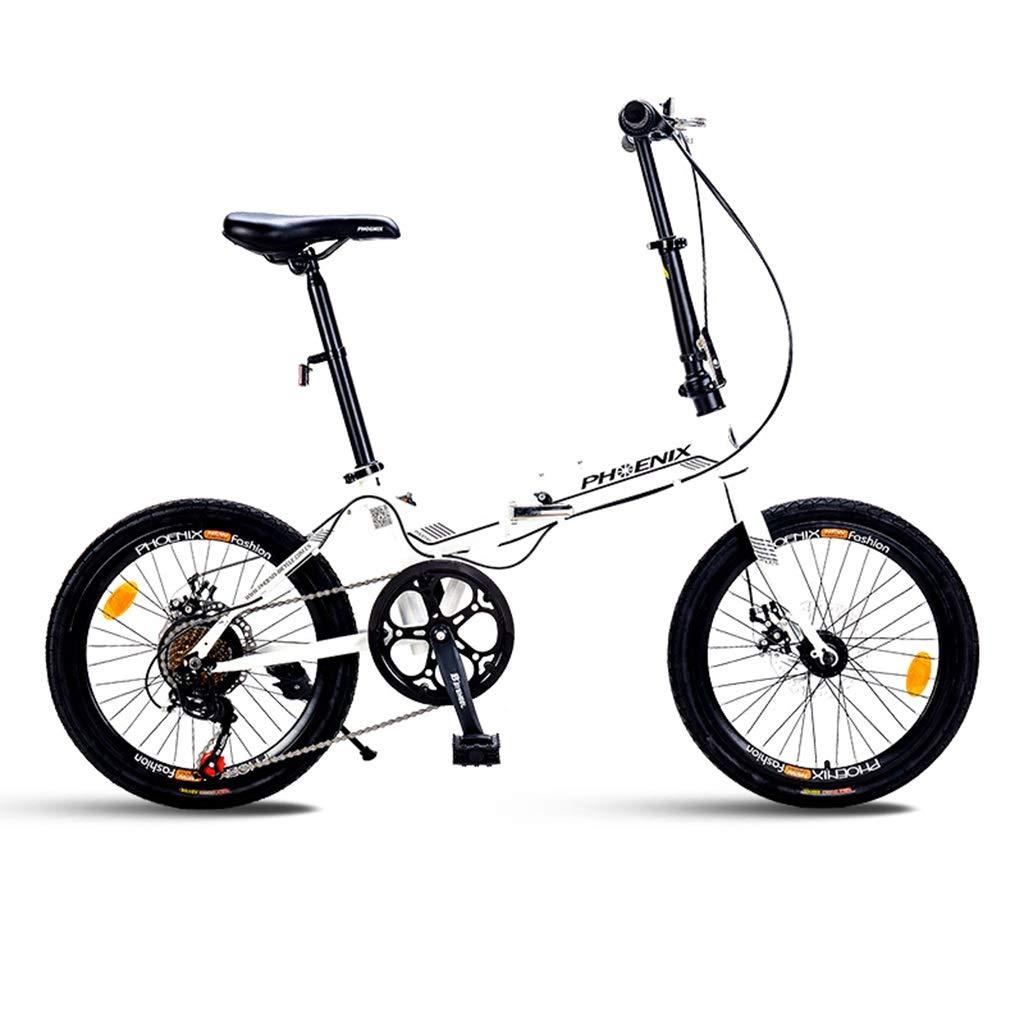 Paseo Bicicleta Bicicleta De Montaña Bicicleta Plegable Bicicleta Unisex De 20 Pulgadas Rueda Pequeña Bicicleta Portátil De 7 Velocidades (Color : Blanco, Size : 150 * 30 * 60cm): Amazon.es: Hogar