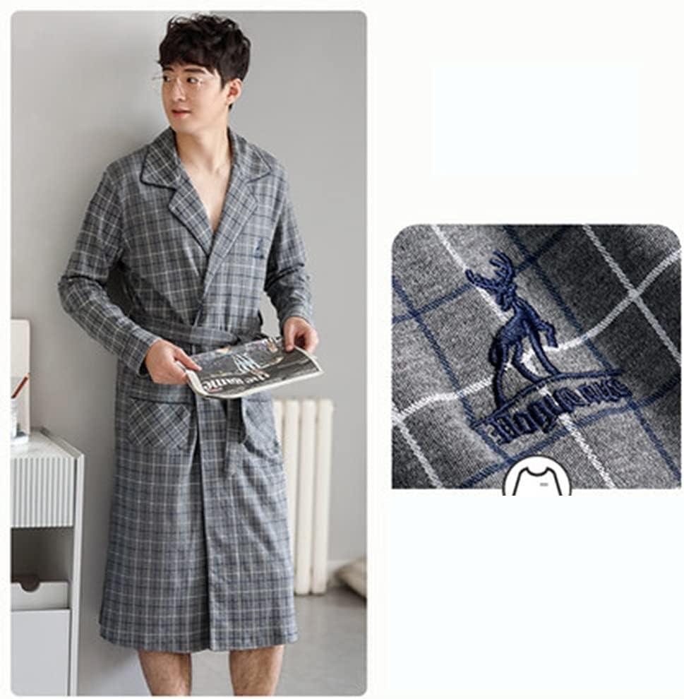 DEWUFAFA Men's Lightweight Kimono Pajamas, Casual Cotton Bathrobe Pajamas, Long-Sleeved Pajamas (Color : A, Size : Medium)