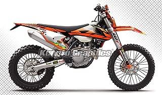 Kungfu Graphics Custom Decal Kit for 125 150 250 300 350 450 500 EXC EXC-F XCW XC-W 2017 2018 2019, White Orange Black