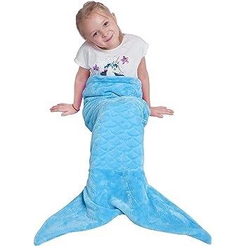 Catalonia Classy Kids Glitter Mermaid Tail Blanket Idea 61 x 19 Rainbow Ombre Soft Warm Plush Fleece Sleeping Bag Snuggle Blanket for Girls Toddler Teens 155 x 48 cm Fish Scale Pattern